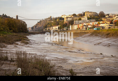 A view of Clifton Suspension Bridge (left) and Clifton (right) in Bristol, UK - Stock Photo