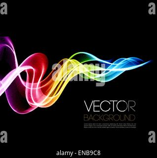 Vector Abstract shine waves  in black background. Template brochure design - Stock Photo