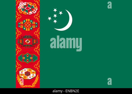 National flag of the Republic of Turkmenistan. - Stock Photo
