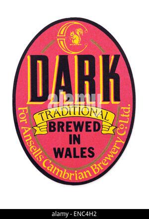Vintahe Welsh Beer Mat advertising Dark Beer for Ansells Cambrian Brewery - Stock Photo