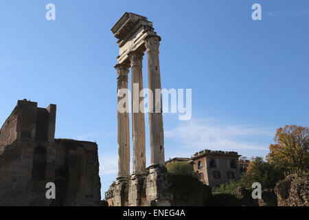 Italy. Rome. Roman Forum. Temple of Castor and Pollux. View of the three columns. - Stock Photo
