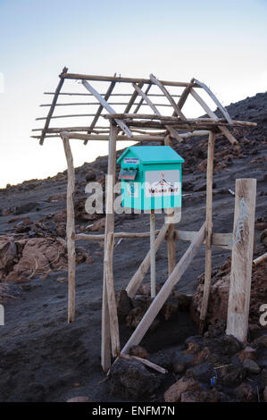 Touristy postbox on the slops of Mount Yasur, a volcano on Tanna Island, Vanuatu, South Pacific. Click for details. - Stock Photo