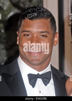 Seattle Seahawks quarterback Russell Wilson arrives for the State dinner in honor of Japanese Prime Minister Shinzo - Stock Photo