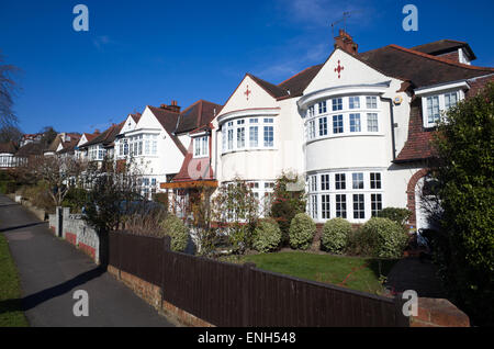 Houses on the Holly Lodge Estate, Highgate, London, England, UK - Stock Photo