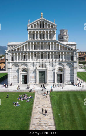 The Cathedral of Pisa, west facade, the Leaning Tower behind, Pisa, Tuscany, Italy - Stock Photo
