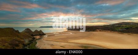 Three Cliffs Bay, Gower, Peninsula, Swansea, West Glamorgan, Wales, United Kingdom, Europe - Stock Photo