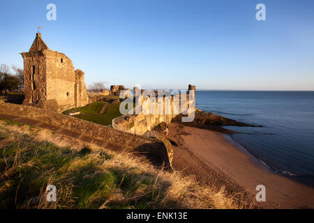 St. Andrews Castle and Castle Sands from The Scores at sunrise, Fife, Scotland, United Kingdom, Europe - Stock Photo