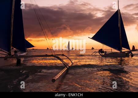 Paraw boats, White Beach, Boracay, The Visayas, Philippines, Southeast Asia, Asia - Stock Photo