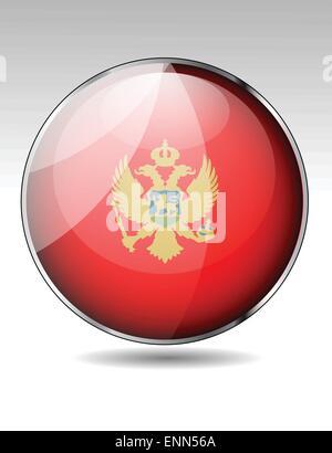 Montenegro flag button - Stock Photo