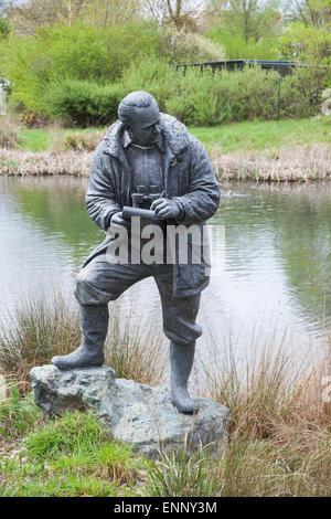Sir Peter Scott sculpture at London Wetland Centre - Stock Photo