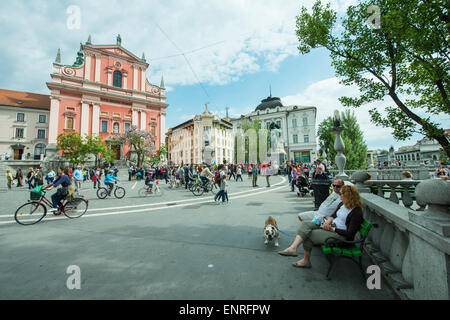 A view of Preserenov trg. - Stock Photo