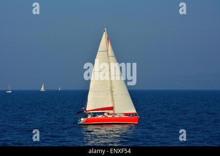 Sailing in Croatia near the island Hvar - Stock Photo