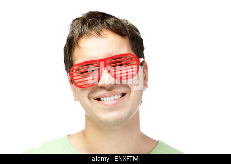 smiling men in red sunglasses isolated on white - Stock Photo