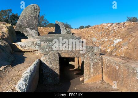 Dolmen of Lacara (between 3000 and 4000 BC), Merida, Badajoz, Extremadura, Spain, Europe - Stock Photo