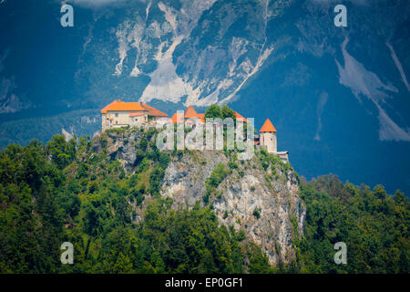 Lake Bled, Upper Carniola, Slovenia.  Bled Castle. - Stock Photo