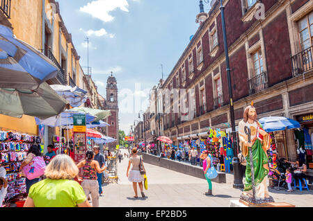 MEXICO CITY, MEXICO - APRIL 29, 2014: locals and tourists in Zocalo downtown streets in Mexico City, Mexico. - Stock Photo
