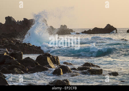 Big waves breaking on the rocky coast at sunset, Tenerife, Spain - Stock Photo