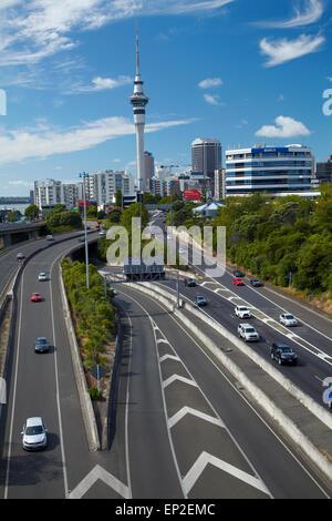 Motorways and Skytower, Auckland, North Island, New Zealand - Stock Photo