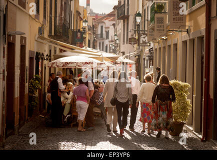 Tourists walking in Rua Santa Maria, the Old Town ( Zona Velha ), Funchal, Madeira, Europe - Stock Photo