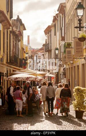 People walking in the evening, Rua Santa Maria, the old town ( Zona Velha ), Funchal, Madeira Europe - Stock Photo