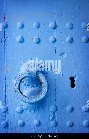 Chefchaouen (Chaouen) - door was painted blue color, Morocco - Stock Photo