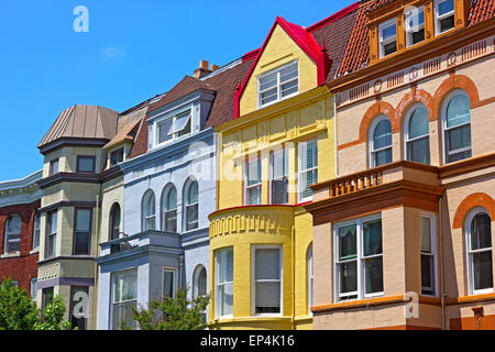 Row houses on a sunny spring day in Washington DC, USA. - Stock Photo