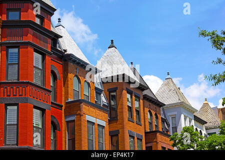 Row houses on a sunny day in Washington DC, USA. - Stock Photo