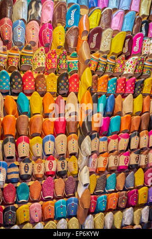 Shoe store. Babouches, brightly coloured traditional Moroccan slippers. Morocco - Stock Photo
