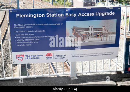 Easy access program of works underway by  new south wales government at Flemington railway station in western sydney,australia - Stock Photo