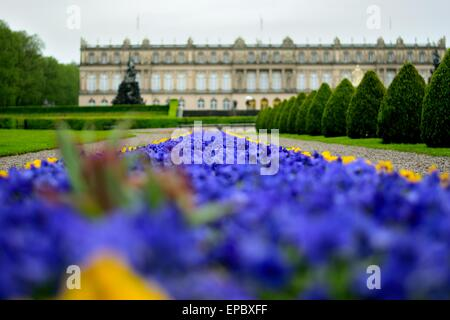 Bed of flowers in the gardens of Herrenchiemsee palace in Bavaria Germany - Stock Photo