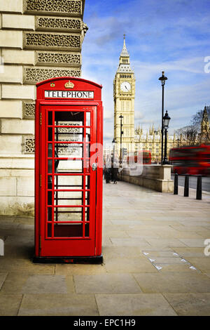 Red phone box with Big Ben, London. - Stock Photo