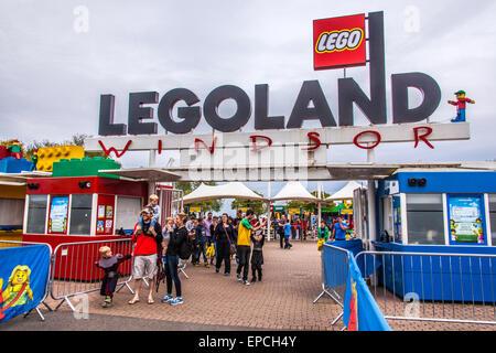 Entrance gate to Legoland  Windsor, London, England, United Kingdom. - Stock Photo