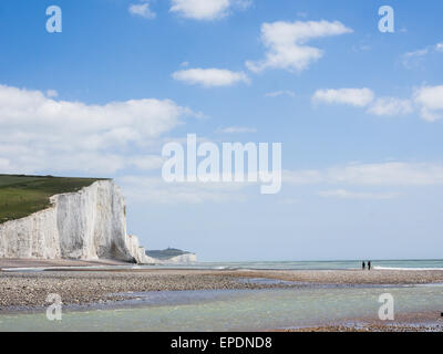 Seaford, UK. 16th May, 2015. Dramatic coastline where the Cuckmere River meets the English Channel. Credit:  Dave - Stock Photo