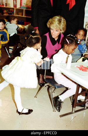 Princess Diana visits day nursery in New York, during visit to the US, 2nd February 1989. - Stock Photo
