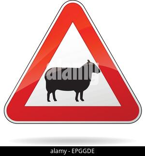 illustration of triangular warning sign for sheeps - Stock Photo
