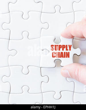 Missing jigsaw puzzle piece with word  SUPPLY CHAIN. Business concept image for completing the puzzle. - Stock Photo