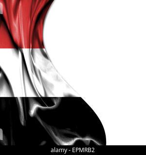 Yemen waving silky flag isolated on white background - Stock Photo