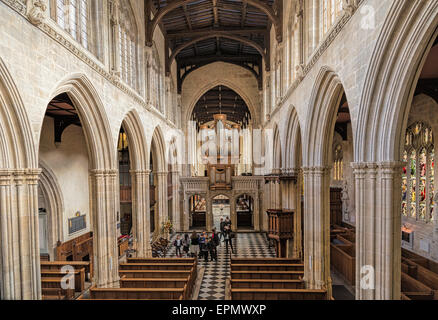 The nave of St Mary the Virgin Church viewed in an easterly direction from the gallery, looking towards the chancel, - Stock Photo