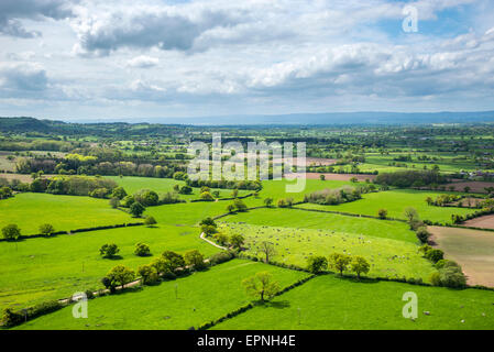 View of the Cheshire plain from Beeston castle, England. Beautiful English countryside in early summer. - Stock Photo