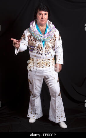 Elvis Presley Tribute Act at Elvis Fest - The Annual Elvis Presley Tribute Festival at Porthcawl South Wales - Stock Photo