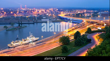 Panoramic view of Szczecin, waterfront at dusk, Poland. - Stock Photo