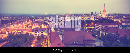 Vintage retro toned panoramic view of Szczecin downtown, Poland. - Stock Photo