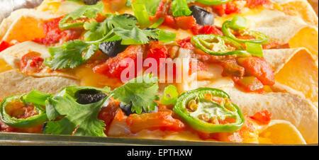 Delicious home made Mexican enchiladas in a casserole dish - Stock Photo