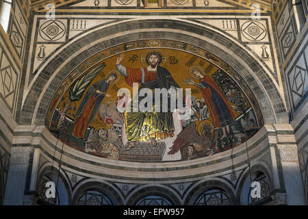 Mosaic of Christ with Mary and St. Minias in the San Miniato al Monte Church, Florence, Tuscany, Italy - Stock Photo