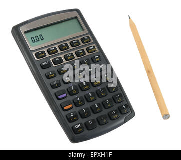 Scientific calculator with pencil isolated on white. - Stock Photo