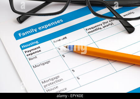 Family expenses application form with glasses and ballpoint pen. - Stock Photo