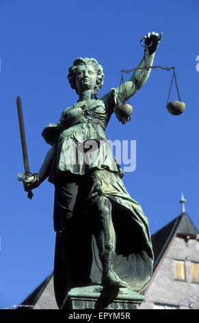 DEU, Germany, Hesse, Frankfurt, Justicia statue of the justice fountain at the Roemerberg square.  DEU, Deutschland, - Stock Photo