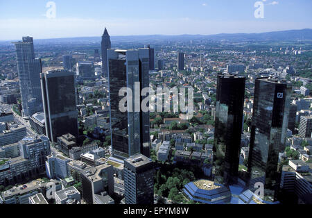 DEU, Germany, Hesse, Frankfurt, view from the Maintower to the Westend, in the background the Messeturm, on the - Stock Photo