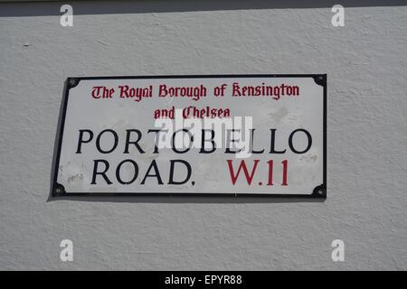 Street Sign for Portobello Road, The Royal Borough of Kensington and Chelsea,  W.11 London, UK - Stock Photo