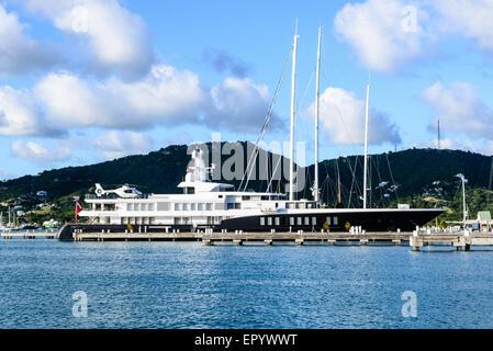Yacht Charter Fleet motor yacht 'Air', English Harbour, Antigua - Stock Photo